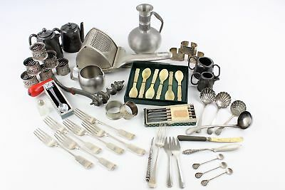 Job Lot of Vintage Mixed Kitchenalia Inc. Silver Plate, Napkin Rings, Spoons