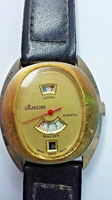 VTG Swiss Lord Nelson Art Deco Mens Jump Hour 1960 Wristwatch w/ Second Hand