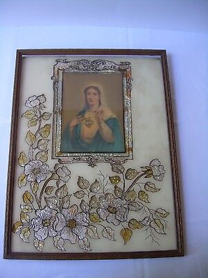 Antique MADONNA RELIGIOUS PICTURE Foil Backed Glass 12 x 16