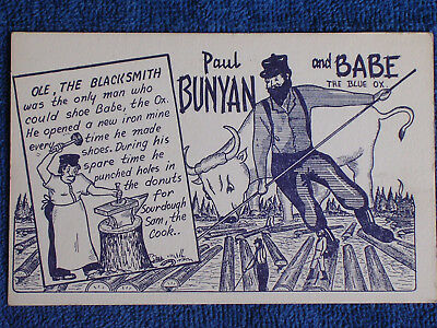 Paul Bunyan/Ole the Blacksmith Makes Shoes for Babe the Blue Ox/Comic Postcard
