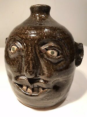 Reggie Meaders (1919-2009) Georgia Folk Pottery Brown Handled Face Jug, Signed