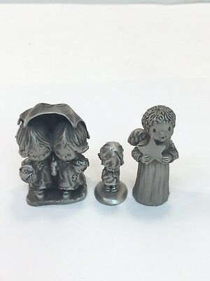 Lot Of 3 Fine Pewter Hallmark Little Gallery Figurines Figures 1975 77 And 81