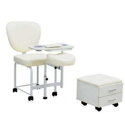 Pro Manicure Pedicure Nail Work Station Table Desk Chair Stool 2 Drawers Storage