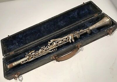 Vintage Cundy Bettoney Cadet Metal Clarinet With Original Case For Restoration