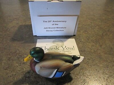 NEW RELEASE Jett Brunet Ducks unlimited miniature 20th ANN MALLARD DECOY NIB