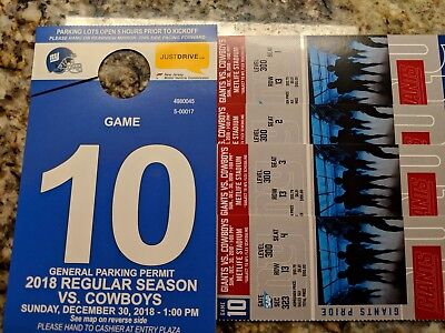 New York Giants vs Dallas Cowboys  4 Tks & 1 Parking Pass December 30, 2018 1 PM