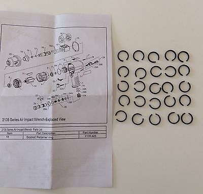 """Ingersoll Rand 1/2"""" Hog Ring 2135-425 for IR2135, IR2131 Impact Wrenches (25pcs)"""