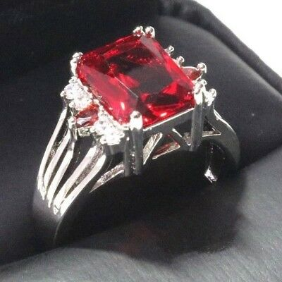Sparkling Radiant Red Ruby Ring Women Jewelry 14K White Gold Plated Nickel Free