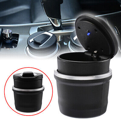 1pc Car Ashtray Ash Blue LED Light Smokeless Stand Cylinder for Car Cup Holder