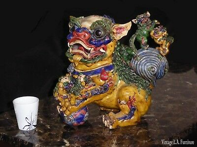 Large Vintage Oriental Japanese Colorful Foo Dog w 5 Baby Foo Dogs Statue Figure