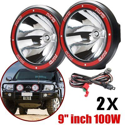 "2x 9"" inch 100W HID Xenon Driving Lights Spotlight Offroad Work Lamp 4X4 SUV I5"