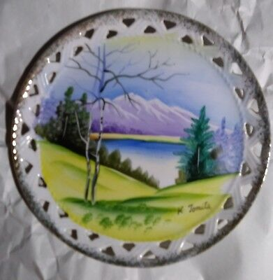 Vintage Norleans Japan Hand Painted Signed Plate Side Cut Outs Gold Trim
