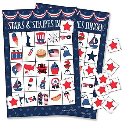 Patriotic Bingo Game For Kids 24 Players PARTY SUPPLIES RED WHITE BLUE Kitchen