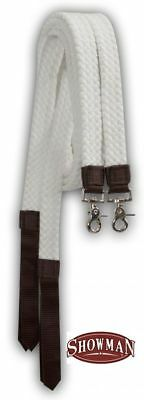Flat Braided Cotton Split Reins w/ Snaps and Popper by Showman! NEW HORSE TACK!