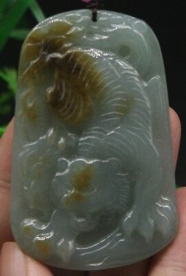 Certified Green Yellow 100% Natural A Jade jadeite Pendant Tiger 老虎 6992-0200