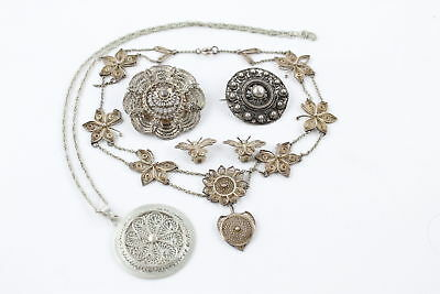 5 x Vintage .925 STERLING SILVER FILIGREE JEWELLERY inc. Necklaces, Brooch (75g)
