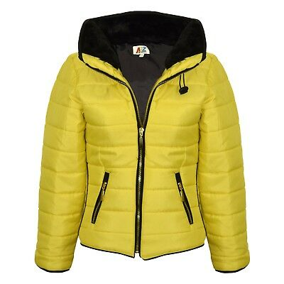Kids Girls Jacket Padded Mustard Puffer Buble Fur Collar Quilted Warm Thick Coat