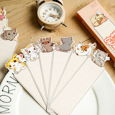30pcs Cartoon Cat Paper Bookmark Animal School Stationery Message Note Cards Bew