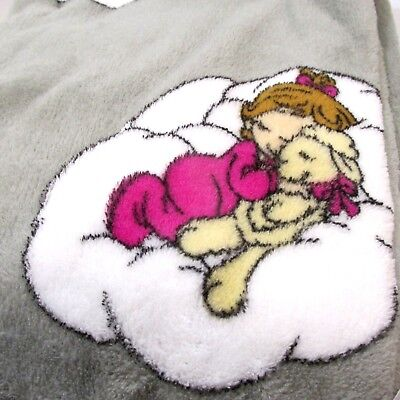 Precious Moments Baby Girl Blanket  Plush Fleece  Gray and Pink  30 x 40  New