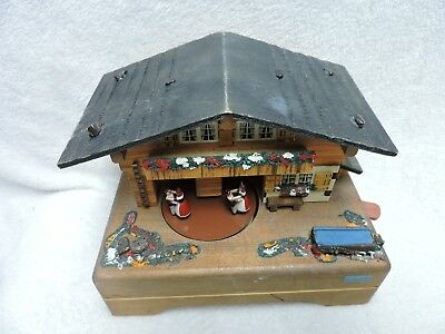 Vintage German Made Wooden Cabin Music Reuge Swiss Musical Movement