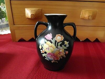 "HK Tunstall Black Petit Point Vase. Vintage England - Approx. 4.5"" Tall"