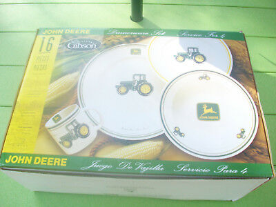John Deere 16 Pc Dinnerware Set By Gibson New In Box Service For Four. #34037-16