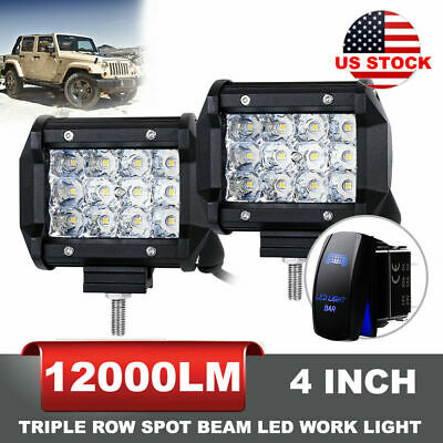 12000LM 2Pc 4inch Phillip LED Spot Work Light Bar Offroad Driving Worklights 4WD