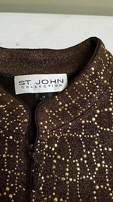St John Collection Jacket Brown Metallic Knit With Gold Crystals Sz 16