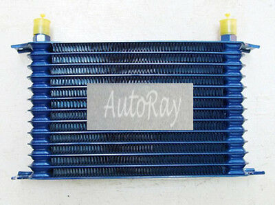Universal 14 Row AN10 Engine Transmission 262mm Oil Cooler Blue