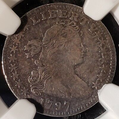 1797 Draped Bust Half Dime 16 Stars  Small Eagle NGC FINE DETAILS REV DAMAGE