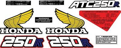 1983-1984 honda ATC 250R Frame vintage stickers ATV decals logos 9pc graphic