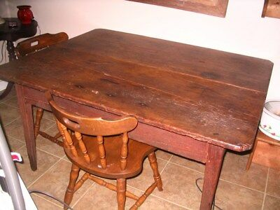 "Primitive Antique 2   BOARD SCRUB TOP  FARM  TABLE, Georgia Pine  42""x54""x28"""