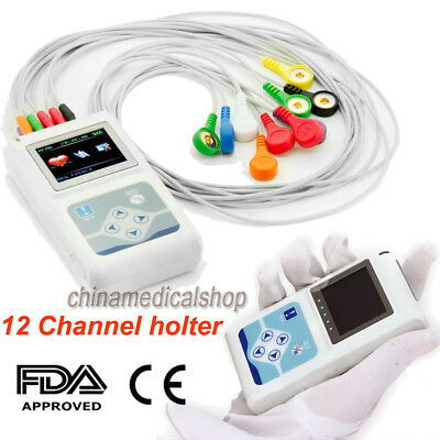 Dynamic ECG Holter 12 Channel EKG Monitor 12 leads 24 hours Recorder/Analyzer CE
