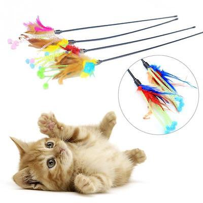 Pet Cat Kitten Play Dangle Rods Pet Toy Flower Bud Feather Tease Funny Colorful
