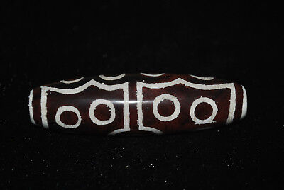 tibetan prayer worry dzi bead old agate 15  eyes amulet gzi antique tibet E32
