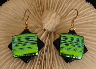 "Handmade Dichroic + Art Glass Earrings Long :"" Black With Green Gorgeous !"""