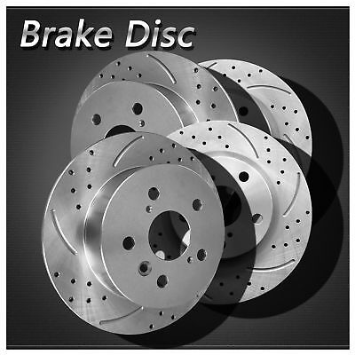 For Audi//VW 2pcs Front Left+Right Drilled Slotted Vented Disc Brake Rotors