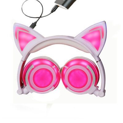 Charging Bluetooth Wireless Headset With MIC Cat Ear Headphones Foldable Flash