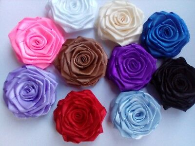 Satin Ribbon Roses Applique Sewing Wedding SIZE 47-50mm Purple White Lilac Ivory