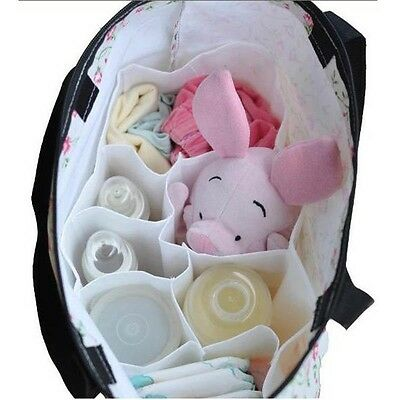 Portable Baby Diaper Nappy Baby Changing Storage Pouch Bag Lined Divider Bottle