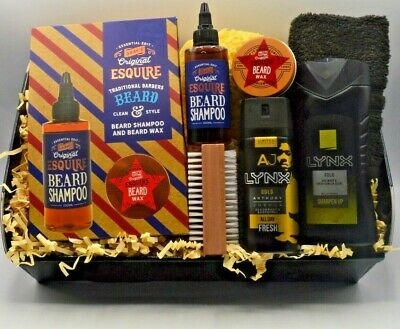 Valentines Day Mens Hamper Lynx & Beard Wax Gift Box Dad Son Husband Birthday