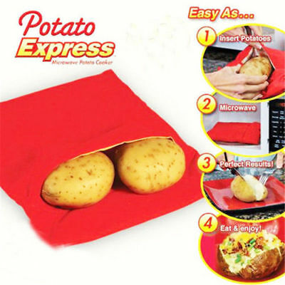Potato Express Washable Cooker Fast Microwave Baked Potato Cooking Bag OU