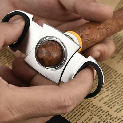 Stainless Steel Pocket Cigar Cutter Double Blades Knife Scissors Tobacco Gift SA