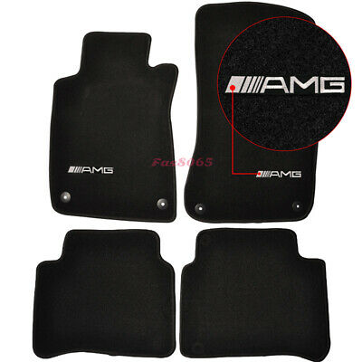 For 03-08 Benz W211 E-Class 4Dr Black Nylon Floor Mats Carpets w/ AMG Embroidery