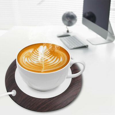 New USB Wood Grain Cup Warmer Heat Beverage Mug Mat Office Tea Coffee Heater Pad