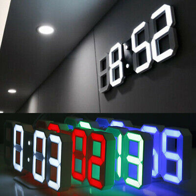 3 Brightness 3D Digital LED Wall Alarm Clock Snooze 12/24 Hour Display USB Decor