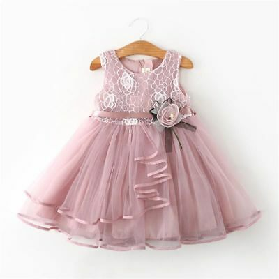 Girls Dress Lace Summer Solid Sleeveless For Kid Clothes Party Pageant Ball Gown