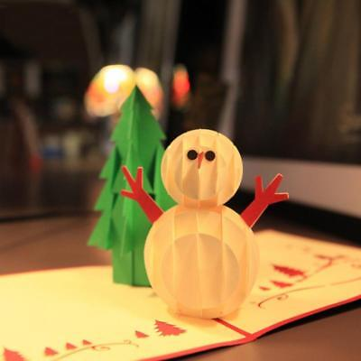 Merry Christmas Gift Cards 3D Pop Up Xmas Tree Snowman Handmade Greeting Cards