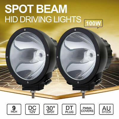 2x 100W 9 inch SPOT HID Driving Lights Xenon Off Road Spotlights Aluminum 12V