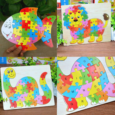 Kids Wooden Letters ABC Alphabet Animal Puzzle Pre-School Learning Jigsaw Toy DS